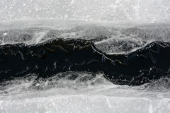 Fissure on the ice. Picture can be used as a background Stock Photography