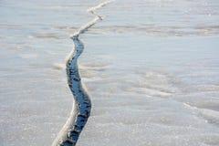 Fissure sur la glace Photos libres de droits