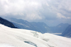 Fissures and the Aletsch glacier in Jungfrau regio Stock Photography