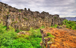 Fissures of the Mid-Atlantic Ridge in the Thingvellir National Park, Iceland Royalty Free Stock Image