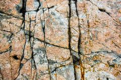 Fissures naturelles de granit dans la roche au parc national d'Acadia, Etats-Unis photos libres de droits