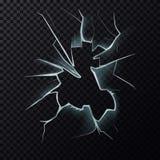Fissures sur la fenêtre cassée avec des fissures Images libres de droits
