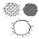 Fissures sur le mur de briques Images libres de droits