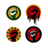 Fist. Four colored vector illustrations with a fist Stock Photos