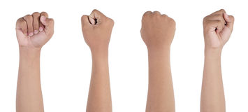 Fist. Four side of hands showing fist royalty free stock images