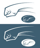 Fist. Vector illustration of fist in various background royalty free illustration