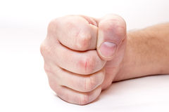 Fist. Man hand. Fist. Boxing, War.  on white background Royalty Free Stock Image