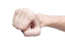 Fist. Woman's fist isolated on white Royalty Free Stock Photography
