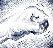 Fist. Ballpoint pen illustration of a fist knocking on a door Royalty Free Stock Image