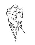 Fist. Is original artwork in pen and ink style. The vector file is in AI-EPS8 format Royalty Free Stock Image
