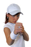 Fist. Portrait of an attractive young female punching Stock Photography