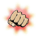 Fist in Action. An illustration of a clenched fist ready to strike stock illustration