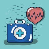 Fist aid kit briefcase with heartbeat. Vector illustration Stock Images