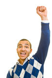 Fist in the air. Young man is cheering with his fist in the air Royalty Free Stock Image