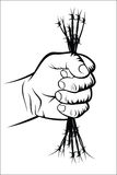 Fist and barbed wire Stock Photos