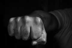 Fist. Black and white picture of a fist stock images