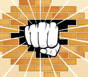 Fist breaking a wall. Vector illustration Fist breaking a wall Stock Illustration