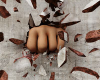 Fist breaking a wall Royalty Free Stock Photo