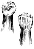 Fist. Brush stroke line art hand drawing Royalty Free Stock Image