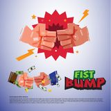 Fist bump. hand sign for success or partnership - vector illustr Royalty Free Stock Image