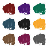 Fist bump icon in black style isolated on white background. Hand gestures symbol stock vector illustration. Stock Photos