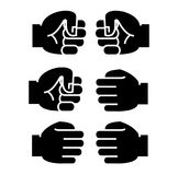 Fist bump icon, vector illustration, black sign on isolated background Royalty Free Stock Photos