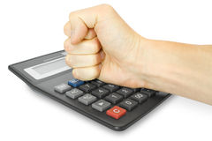 Fist with calculator Stock Photo