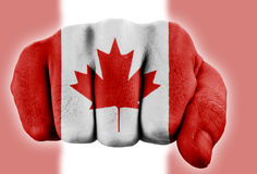 Fist with canadian flag Stock Photo