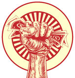 Fist cash money concept. An original drawing of a fist holding money in a vintage propaganda wood cut style Royalty Free Stock Photo
