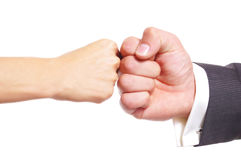 Fist clash. Girl and men fist clash Stock Image