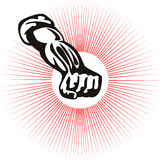 Fist clenched with starburst. Illustration of a clenched fist soviet style vector illustration