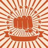 Fist comic poster. Popart power force fist poster with stars and ribbon vector illustration Stock Image