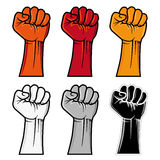 Fist emblem. Different colors clenched fist emblem Royalty Free Stock Image