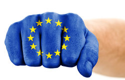 Fist with european union flag Royalty Free Stock Photography