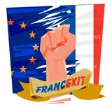 Fist with European Union and France flag. Francexit concept - ve. Fist with European Union and France flag. Francexit concept -  illustration Royalty Free Stock Photo