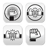 Fist, fist bump  buttons set Stock Photos