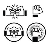 Fist, fist bump  icons set Royalty Free Stock Images