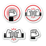 Fist, fist bump  icons set Stock Photography