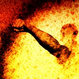 Fist in Flames. Outstretched fist from a ball of fire Royalty Free Stock Image