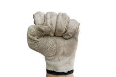 Fist with glove. Fist with old glove on the white background Stock Images