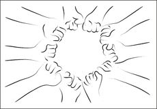 Fist group. On white vector Stock Photos