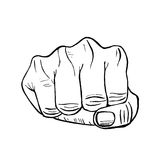 Fist Hand Draw Sketch. Vector Stock Image