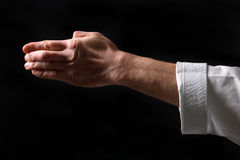 Fist. Hand fighter karate. On the black background Stock Photo