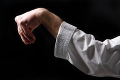 Fist. Hand fighter karate on the black Stock Photography