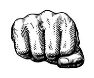 Fist, hand gesture sketch. Punch symbol. Vector illustration Stock Image