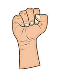 Fist, Hand gesture vector - realistic cartoon illustration. Picture isolated on white background. Stock Image
