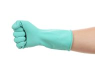 Fist hand in latex glove. Stock Photos