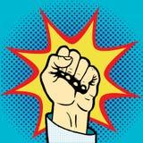 Fist hand pop art style vector Royalty Free Stock Photo