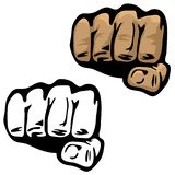 Fist Hand Vector Illustration in Color and Black and White. Hand in fist, grip, or punch position, fingers wrapped tightly, simple but sharp vector illustration royalty free illustration