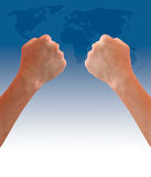 Fist hand on world map Royalty Free Stock Image